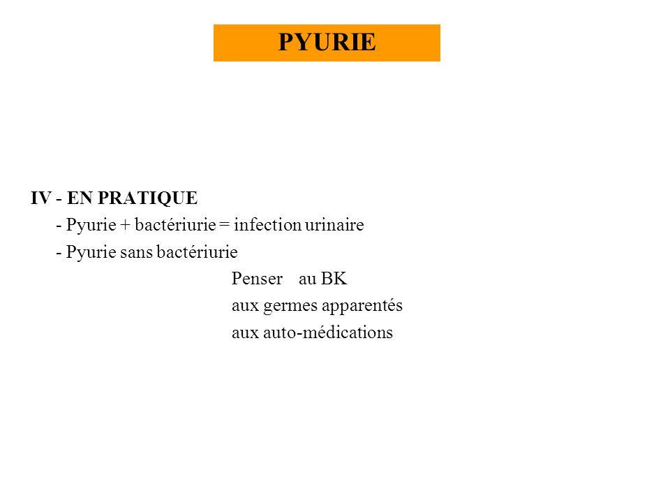 PYURIE IV - EN PRATIQUE - Pyurie + bactériurie = infection urinaire