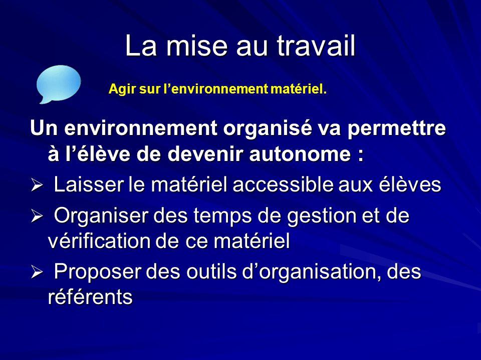 La mise au travail Agir sur l'environnement matériel. Un environnement organisé va permettre à l'élève de devenir autonome :