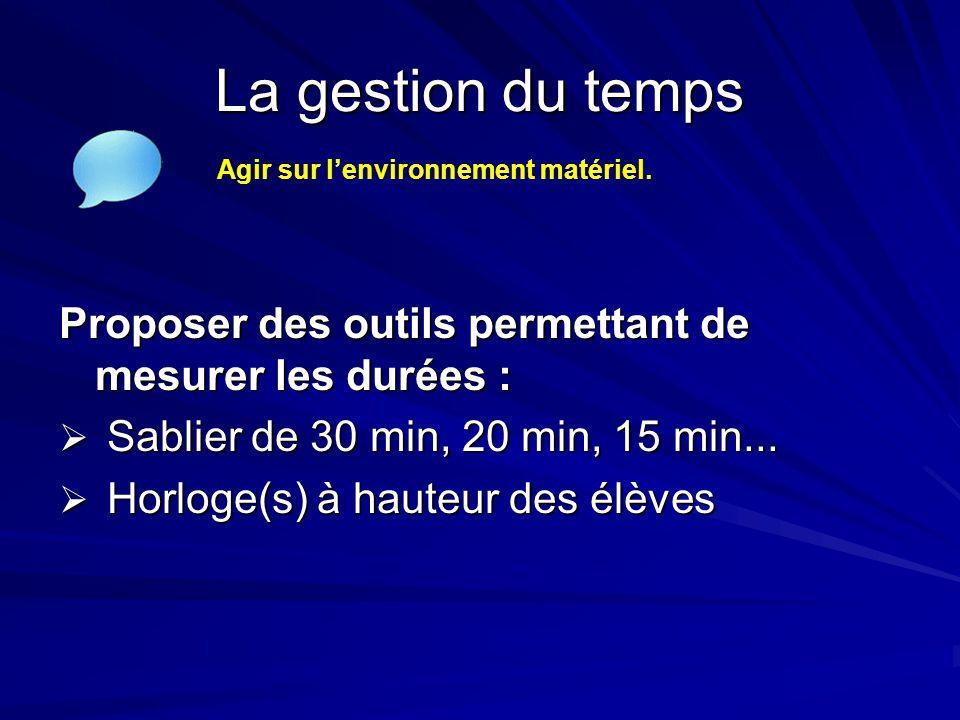 La gestion du temps Agir sur l'environnement matériel. Proposer des outils permettant de mesurer les durées :