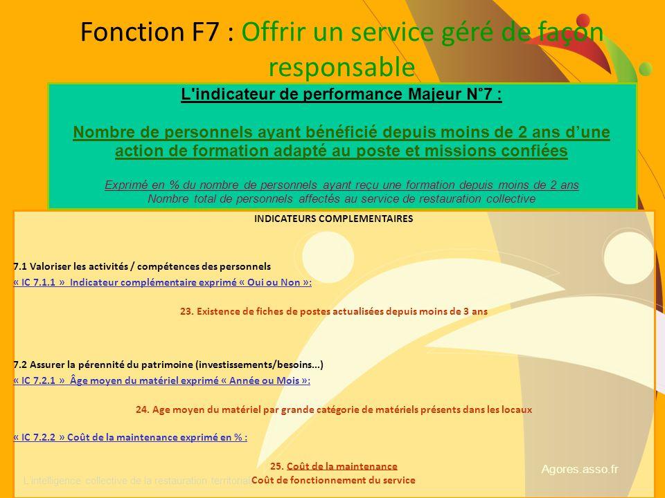 Fonction F7 : Offrir un service géré de façon responsable