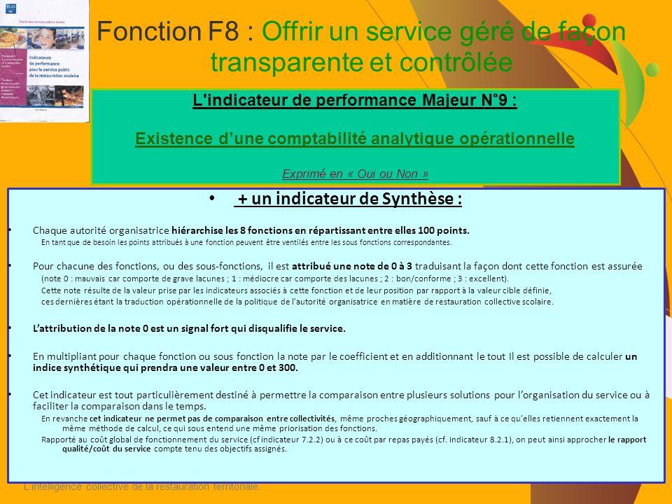 Fonction F8 : Offrir un service géré de façon transparente et contrôlée