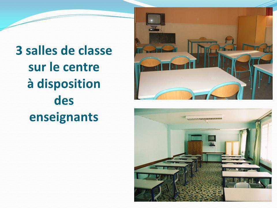 3 salles de classe sur le centre à disposition des enseignants