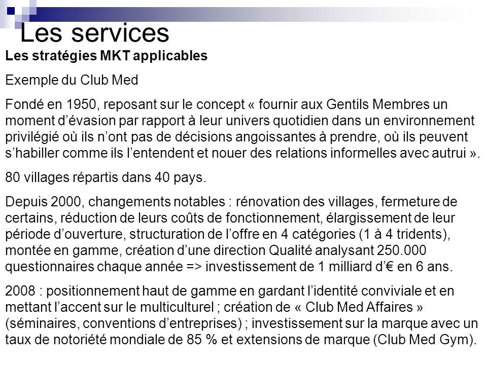 Les services Les stratégies MKT applicables Exemple du Club Med