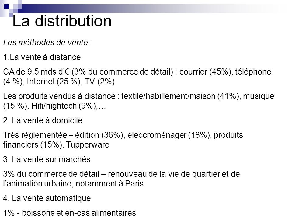 La distribution Les méthodes de vente : La vente à distance