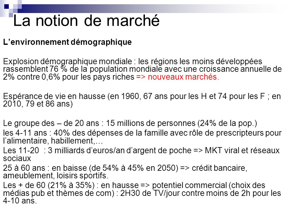 La notion de marché L'environnement démographique
