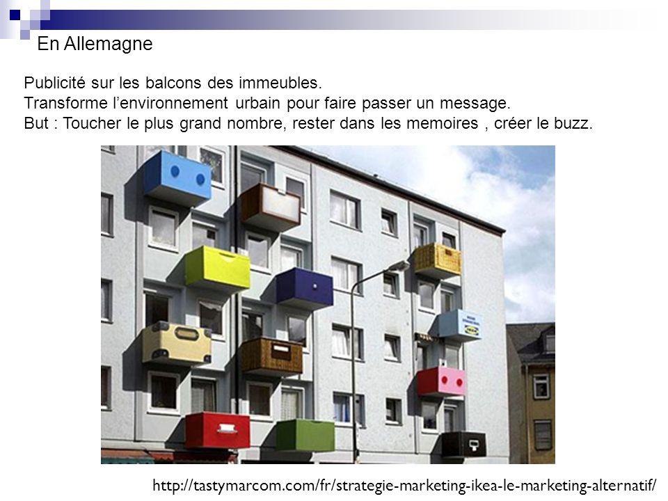 En Allemagne Publicité sur les balcons des immeubles.