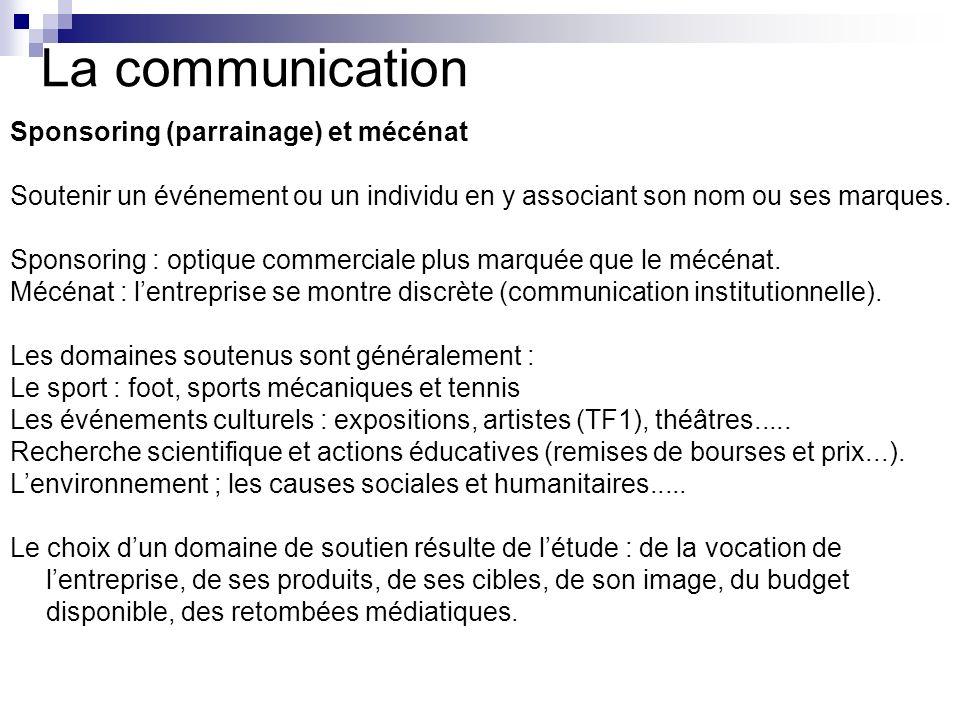 La communication Sponsoring (parrainage) et mécénat
