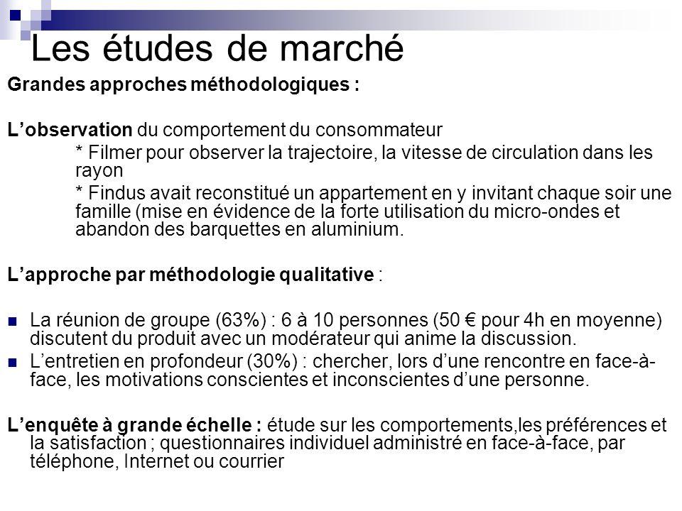 Les études de marché Grandes approches méthodologiques :