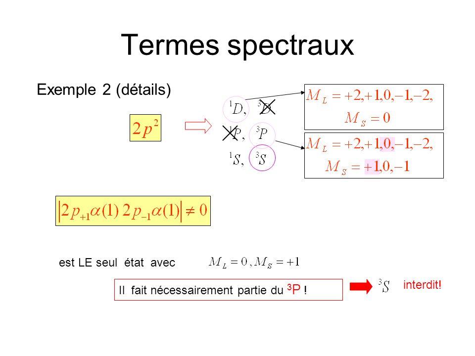 Termes spectraux Exemple 2 (détails) est LE seul état avec interdit!