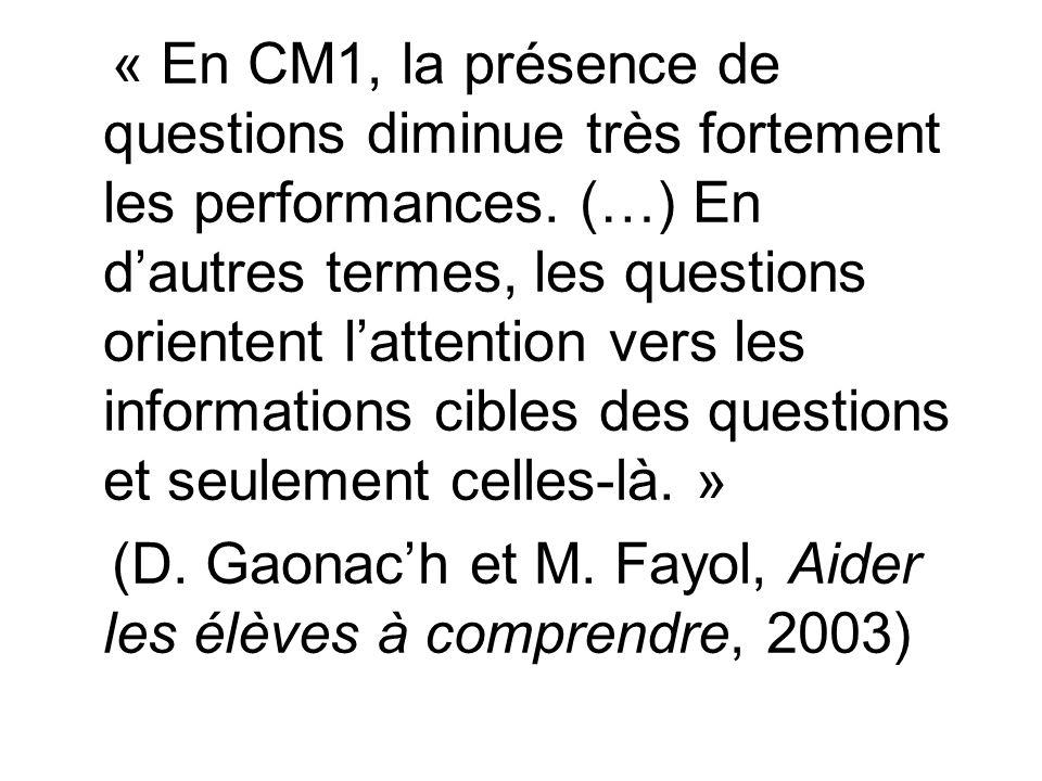 « En CM1, la présence de questions diminue très fortement les performances. (…) En d'autres termes, les questions orientent l'attention vers les informations cibles des questions et seulement celles-là. »