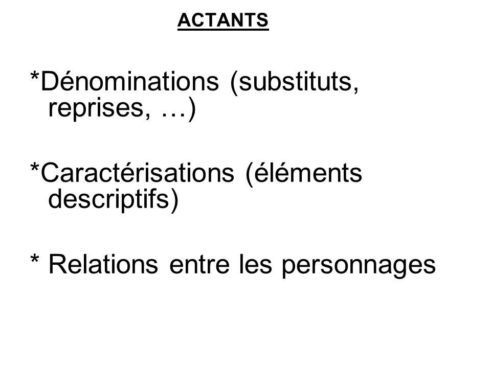 *Dénominations (substituts, reprises, …)