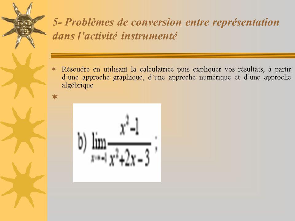 5- Problèmes de conversion entre représentation dans l'activité instrumenté