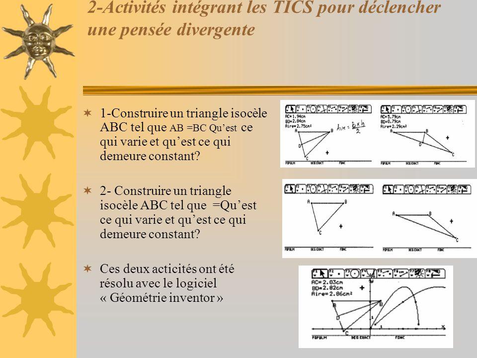 2-Activités intégrant les TICS pour déclencher une pensée divergente