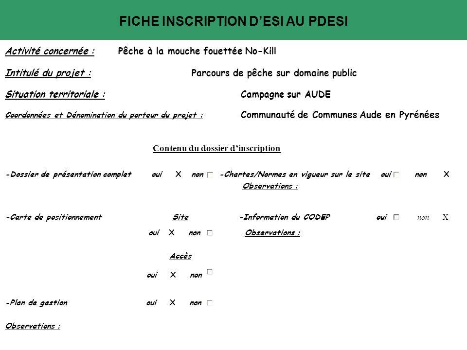 FICHE INSCRIPTION D'ESI AU PDESI