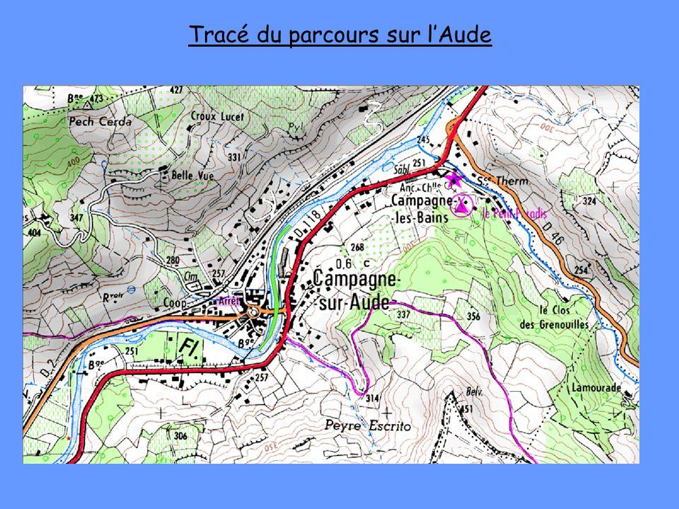 Tracé du parcours sur l'Aude