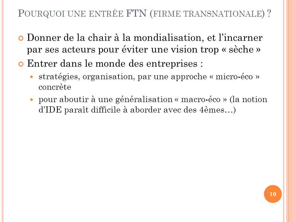 Pourquoi une entrée FTN (firme transnationale)