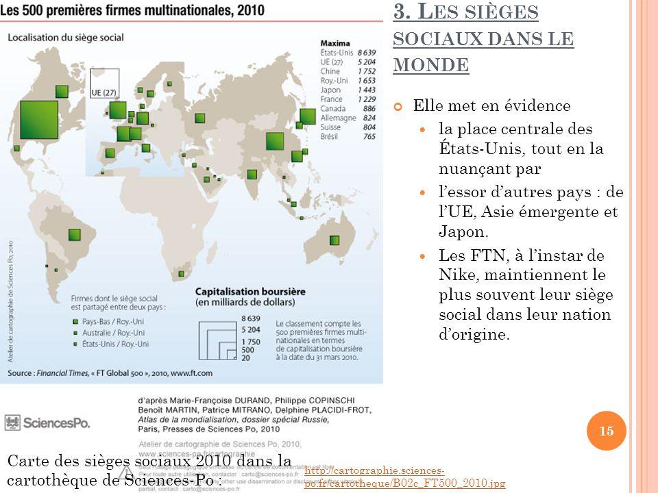 3. Les sièges sociaux dans le monde