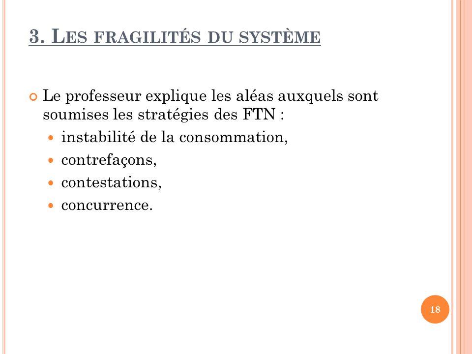 3. Les fragilités du système