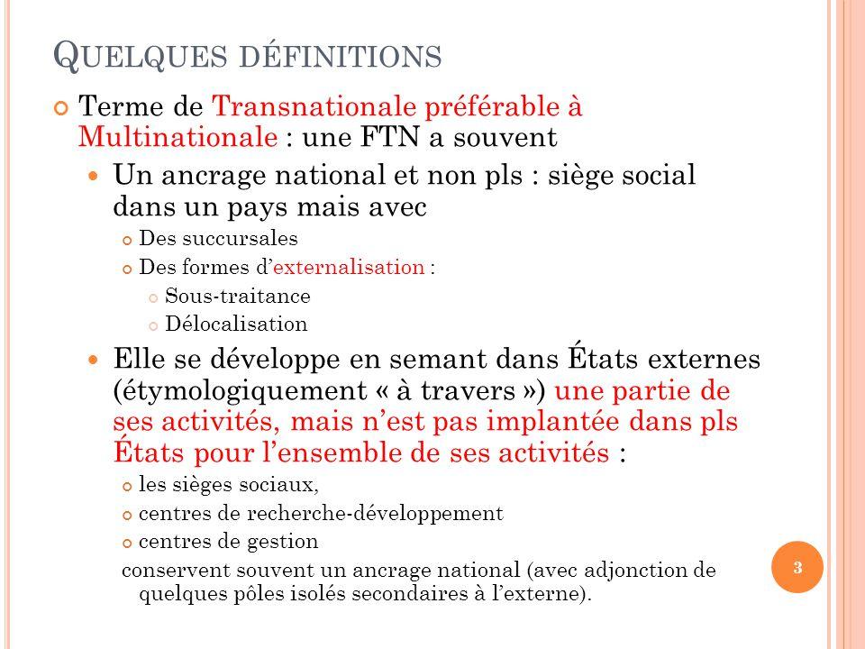 Quelques définitions Terme de Transnationale préférable à Multinationale : une FTN a souvent.