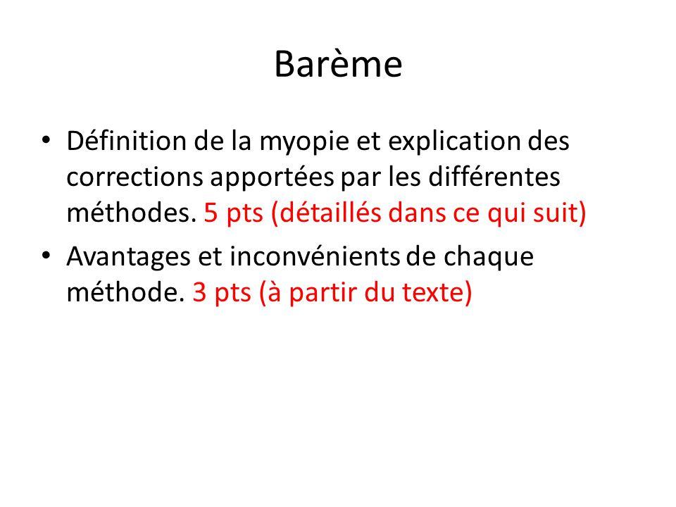 Barème Définition de la myopie et explication des corrections apportées par les différentes méthodes. 5 pts (détaillés dans ce qui suit)