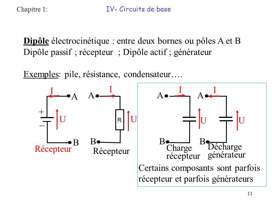 Dipôle électrocinétique : entre deux bornes ou pôles A et B