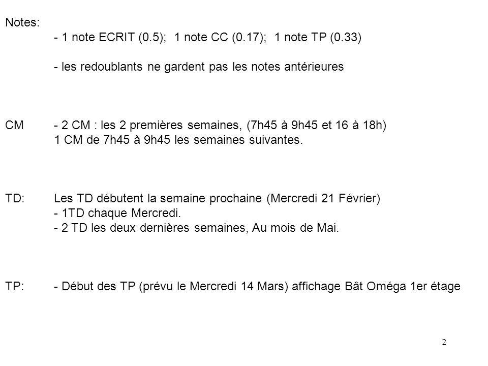 Notes: - 1 note ECRIT (0.5); 1 note CC (0.17); 1 note TP (0.33) - les redoublants ne gardent pas les notes antérieures.