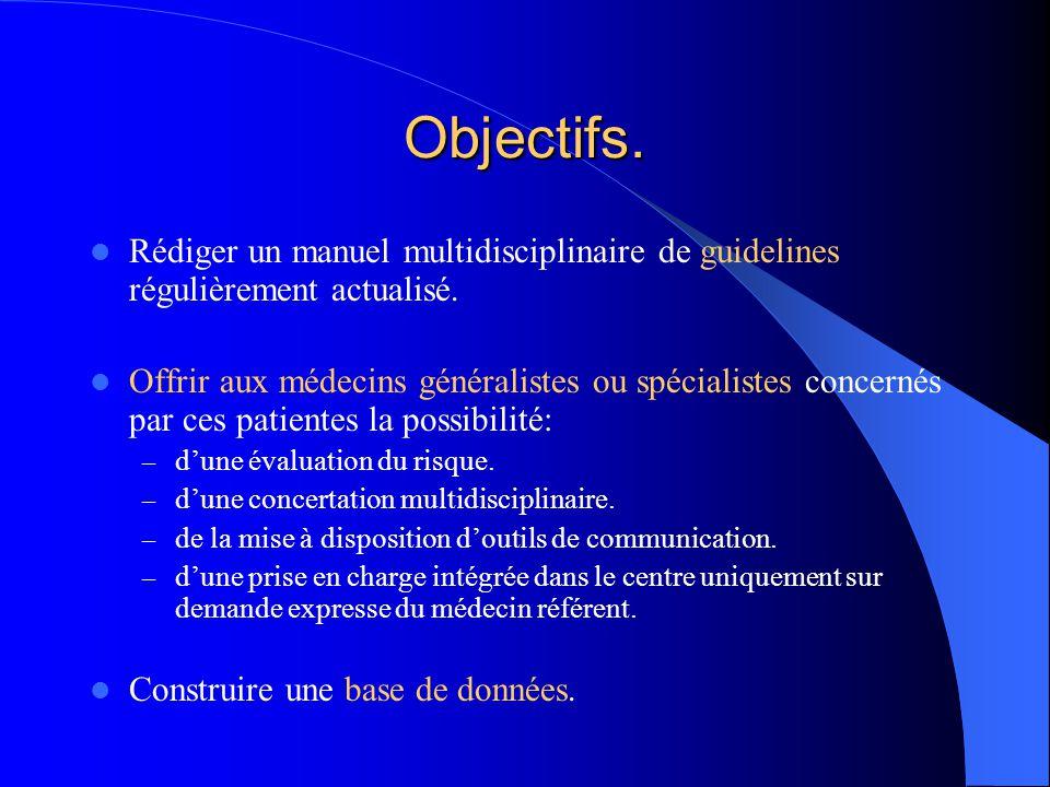 Objectifs. Rédiger un manuel multidisciplinaire de guidelines régulièrement actualisé.