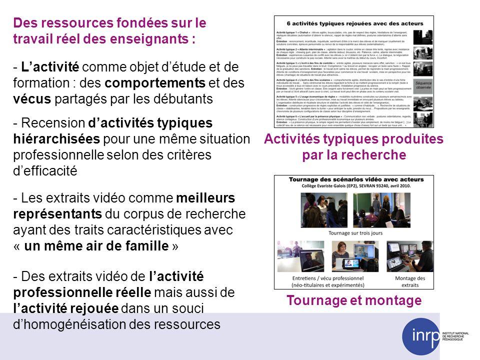 Activités typiques produites par la recherche
