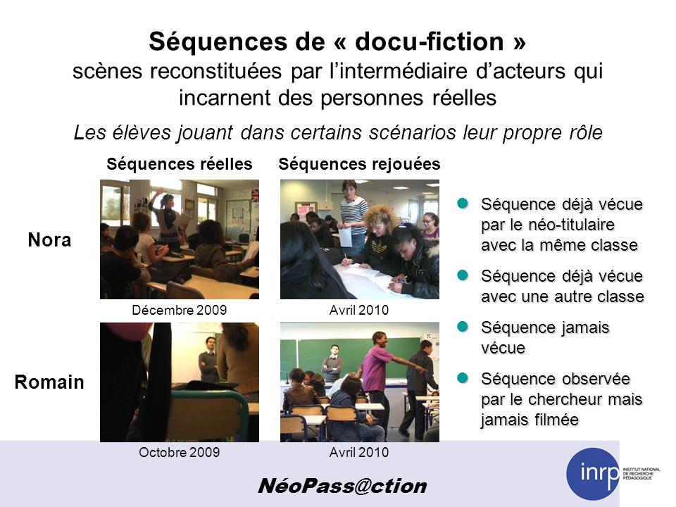 Séquences de « docu-fiction » scènes reconstituées par l'intermédiaire d'acteurs qui incarnent des personnes réelles Les élèves jouant dans certains scénarios leur propre rôle