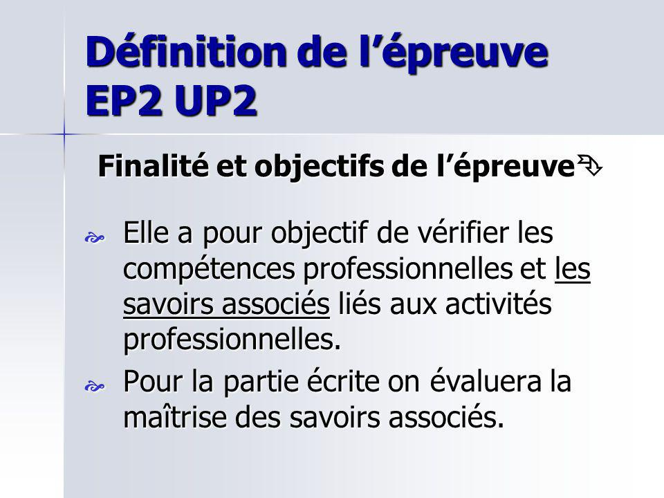 Définition de l'épreuve EP2 UP2