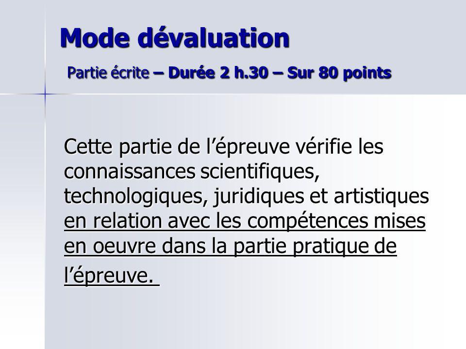 Mode dévaluation Partie écrite – Durée 2 h.30 – Sur 80 points