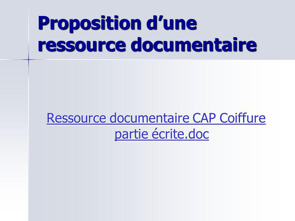 Proposition d'une ressource documentaire