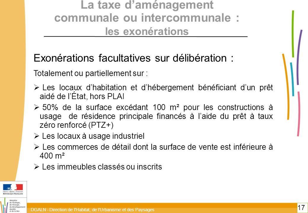 La taxe d'aménagement communale ou intercommunale : les exonérations