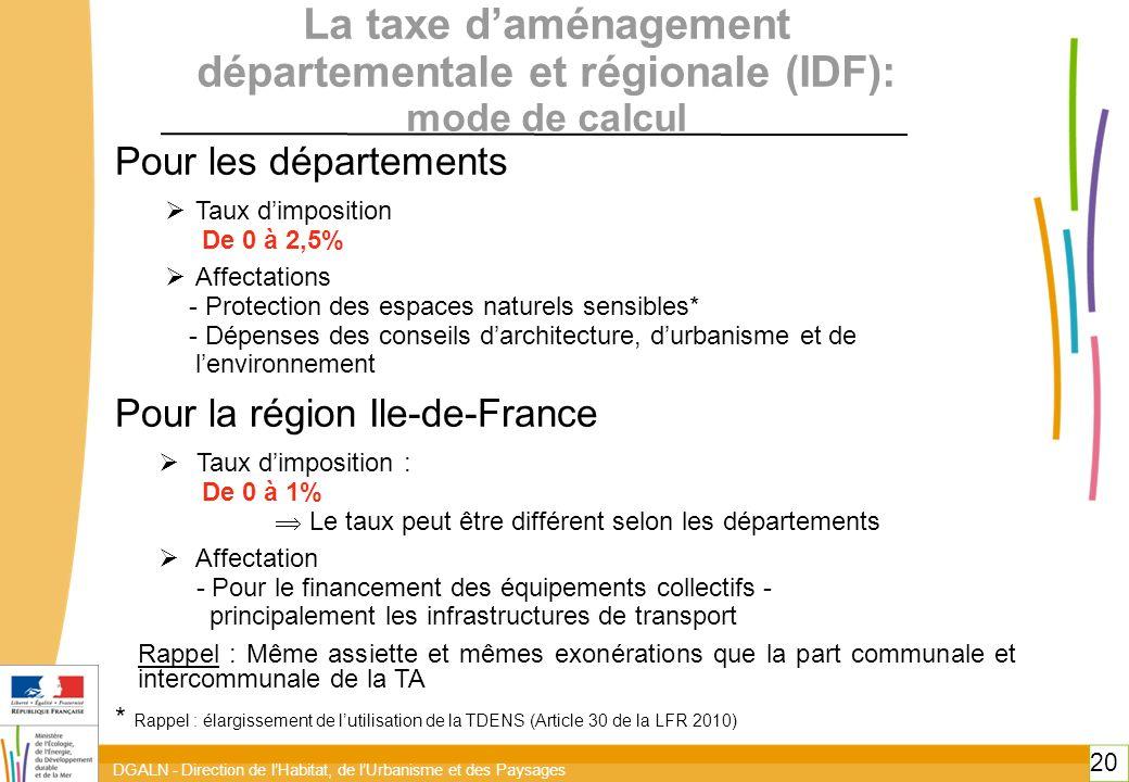toitototototoottoitototototoot. La taxe d'aménagement départementale et régionale (IDF): mode de calcul.