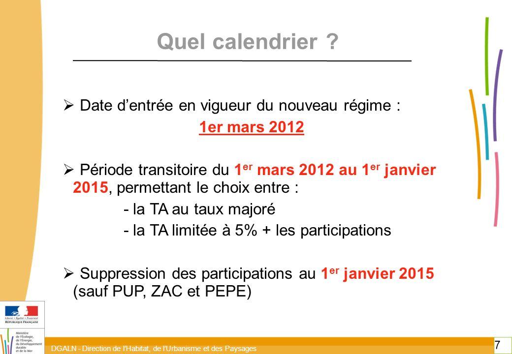 Quel calendrier Date d'entrée en vigueur du nouveau régime :