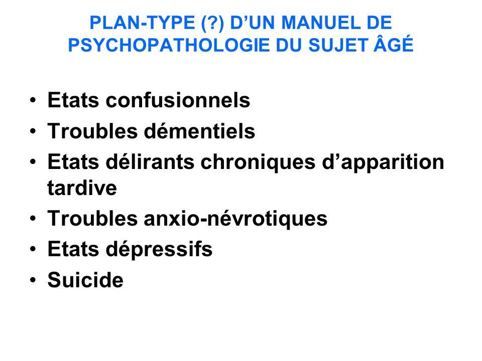 PLAN-TYPE ( ) D'UN MANUEL DE PSYCHOPATHOLOGIE DU SUJET ÂGÉ