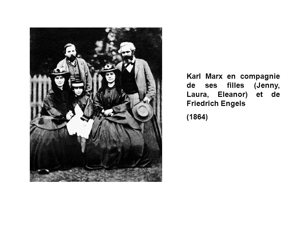 Karl Marx en compagnie de ses filles (Jenny, Laura, Eleanor) et de Friedrich Engels