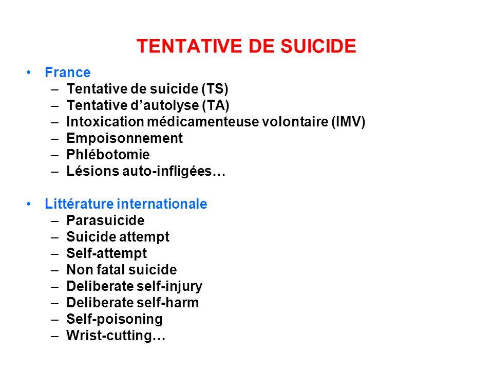 TENTATIVE DE SUICIDE France Tentative de suicide (TS)