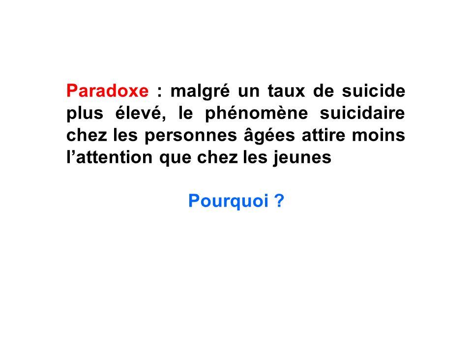 Paradoxe : malgré un taux de suicide plus élevé, le phénomène suicidaire chez les personnes âgées attire moins l'attention que chez les jeunes