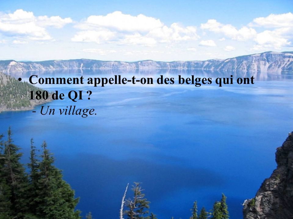 Comment appelle-t-on des belges qui ont 180 de QI - Un village.