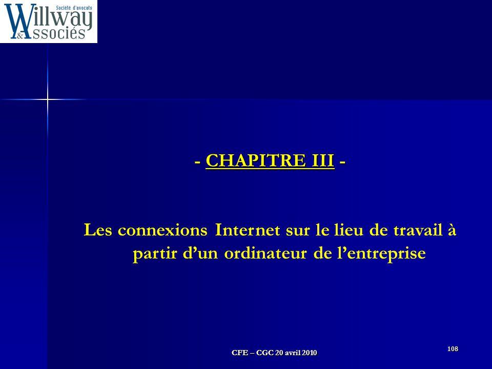 - CHAPITRE III - Les connexions Internet sur le lieu de travail à partir d'un ordinateur de l'entreprise.