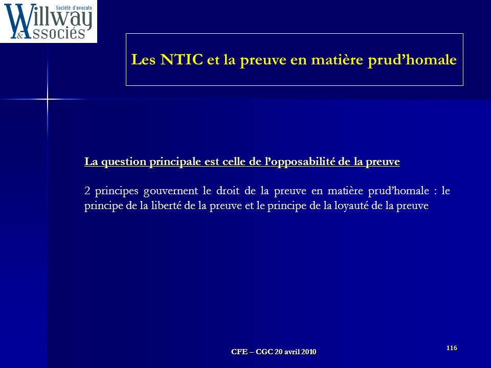 Les NTIC et la preuve en matière prud'homale