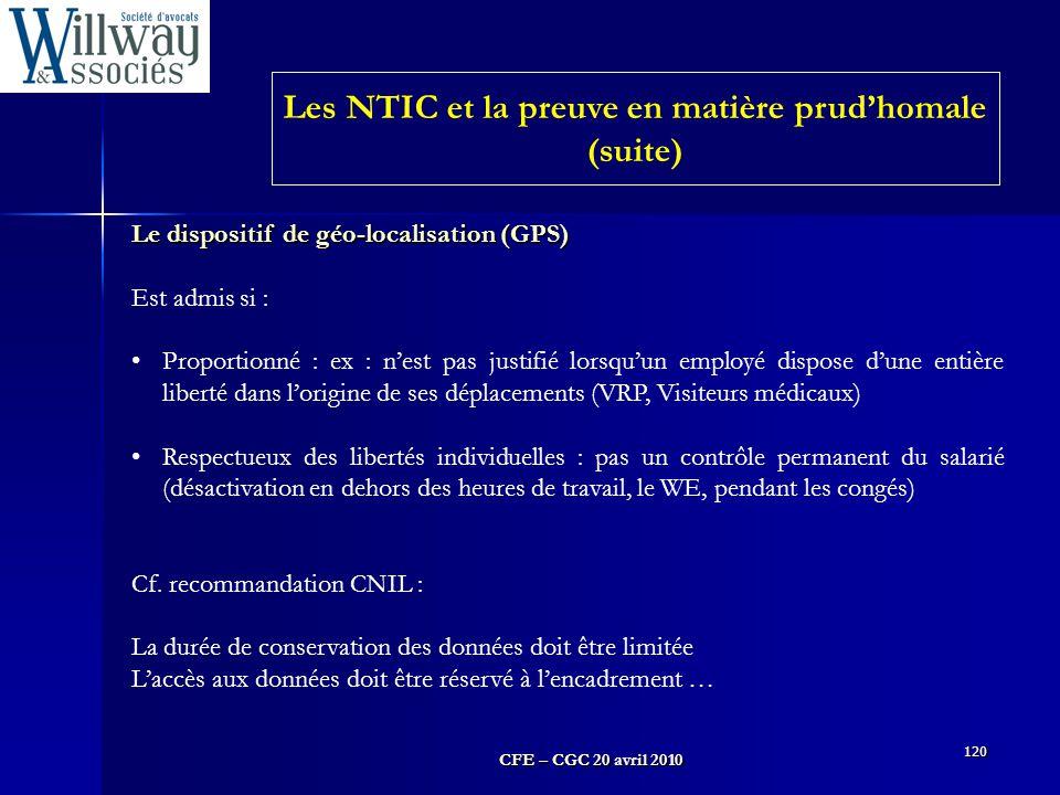 Les NTIC et la preuve en matière prud'homale (suite)