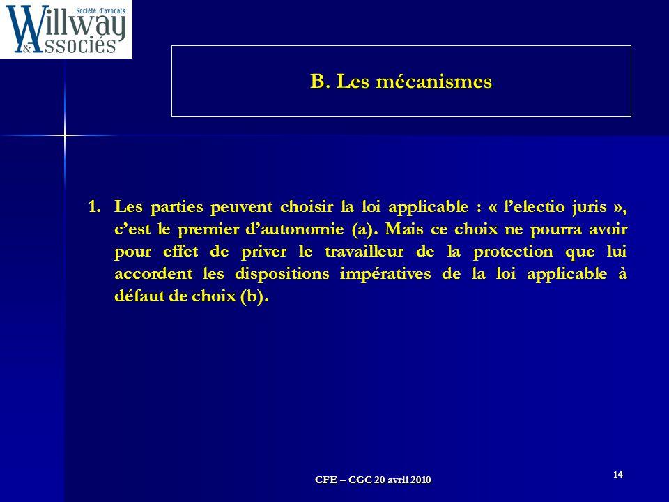 B. Les mécanismes
