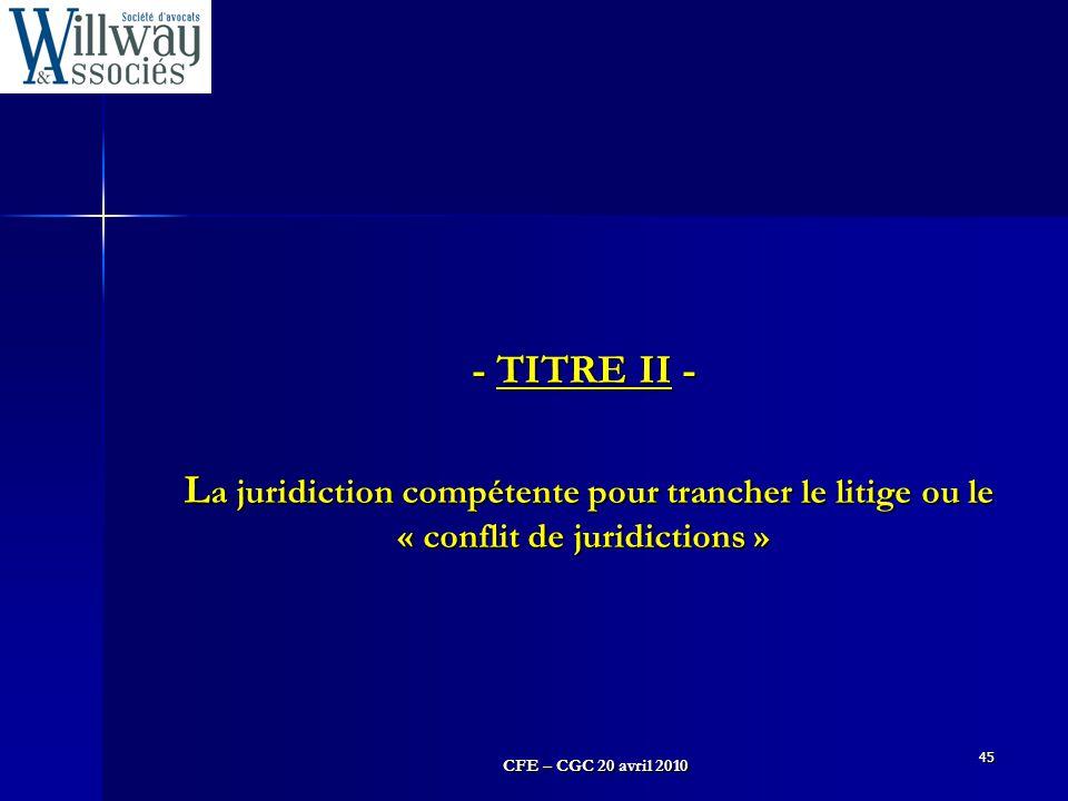 - TITRE II - La juridiction compétente pour trancher le litige ou le « conflit de juridictions » 45