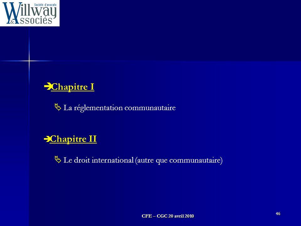 Chapitre I La réglementation communautaire Chapitre II
