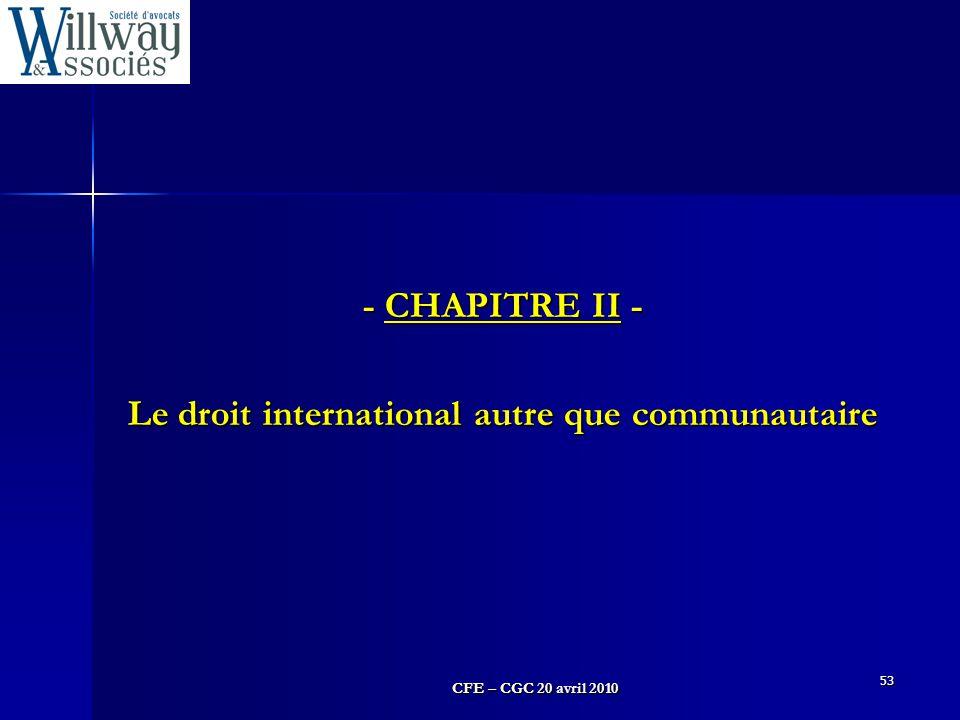 Le droit international autre que communautaire