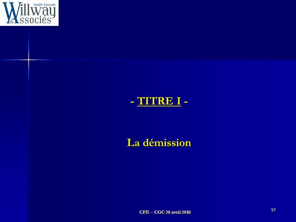 - TITRE I - La démission 57