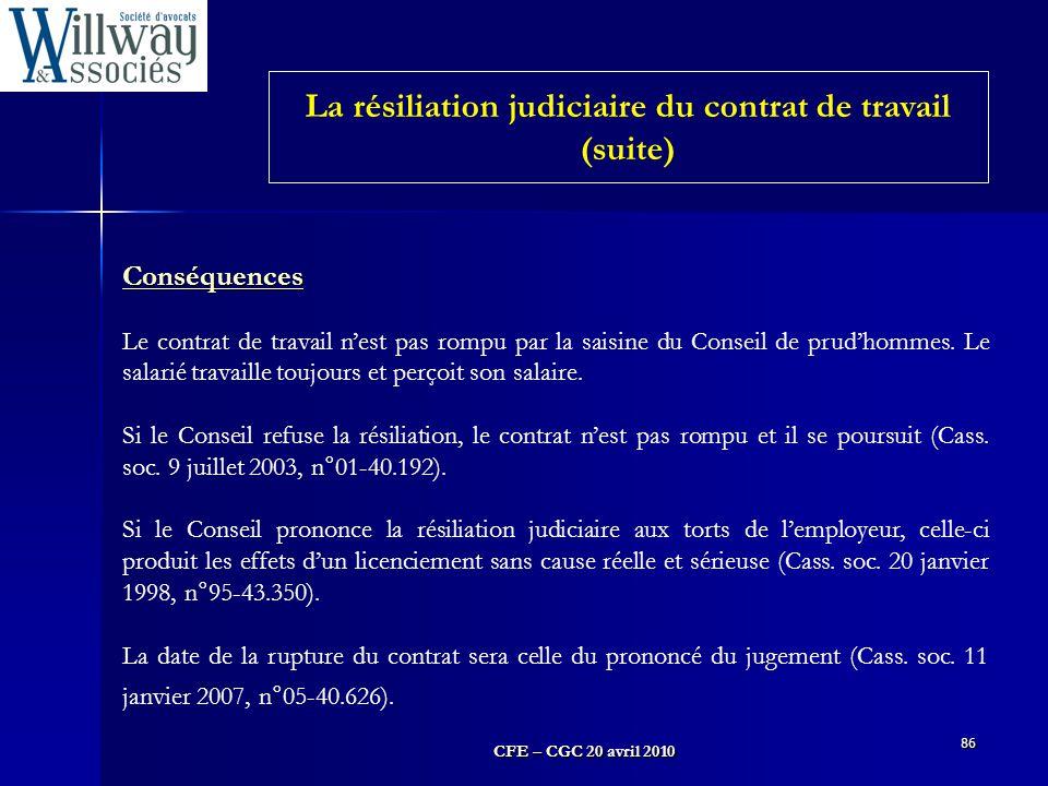 La résiliation judiciaire du contrat de travail (suite)