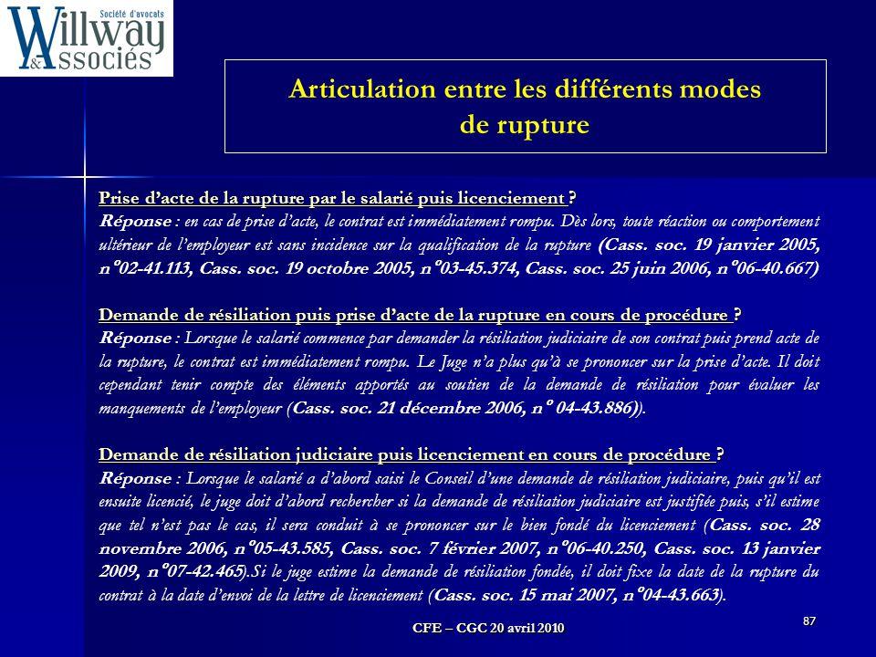 Articulation entre les différents modes de rupture